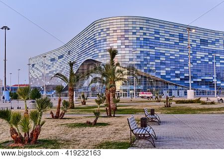 Sochi, Russia - March 4, 2020: Ice Sports Palace Iceberg In The Olympic Park Sochi In The Evening