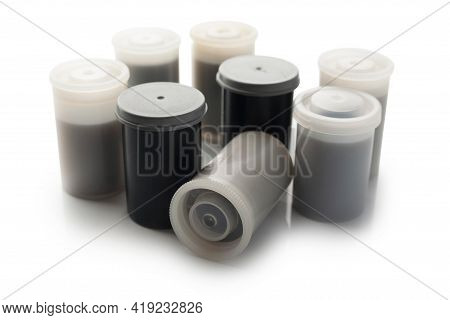 Plastic Canister For A Film 35mm Roll Isolated On White Background.