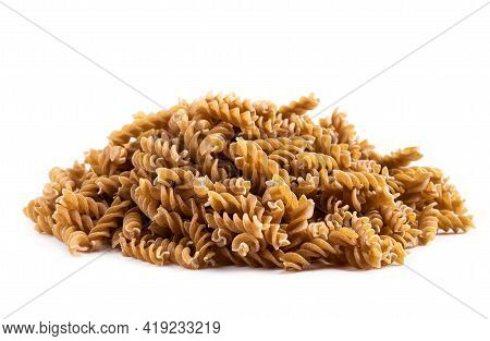 Whole  Grain Fusilli Isolated On White Background