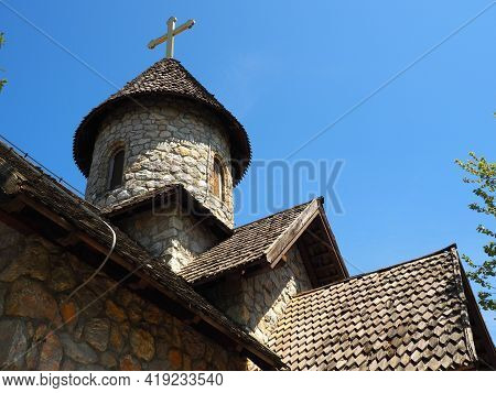 Stanisici, Bijelina, Bosnia And Herzegovina, April 25, 2021. Stone Orthodox Church In The Ethno-park
