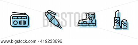 Set Line Sport Sneakers, Radio With Antenna, Fountain Pen Nib And Lipstick Icon. Vector