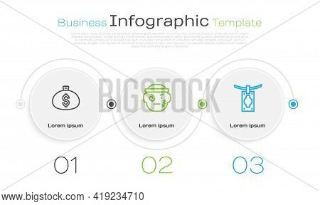 Set Line Money Bag, Bandit And Laundering. Business Infographic Template. Vector