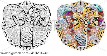 Aries Zodiac Sign Cute Cartoon Lion Character Retro Zentangle Stylized In Vector With Mandala