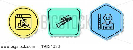 Set Line Internet Piracy, Sniper Rifle With Scope And Suspect Criminal. Colored Shapes. Vector