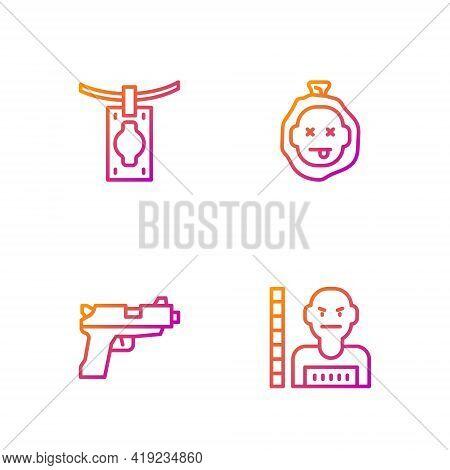 Set Line Suspect Criminal, Pistol Or Gun, Money Laundering And Murder. Gradient Color Icons. Vector