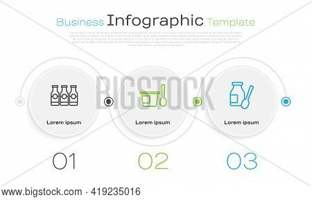 Set Line Bottle With Milk, Yogurt Container Spoon And Drinking Yogurt Bottle. Business Infographic T