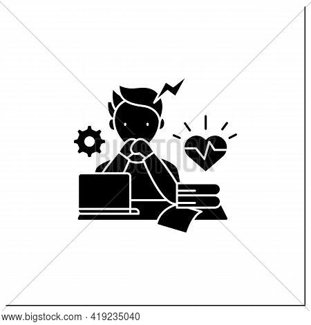 Stress Glyph Icon. Scared About Deadlines. Stressful Situation, Work. Anxiety. Procrastination Conce