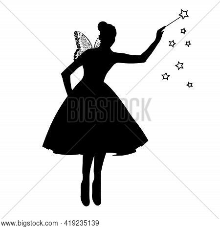 Fairy Vector Stock Illustration. Beautiful Fairy Silhouette. A Sorceress With Wings And A Magic Wand