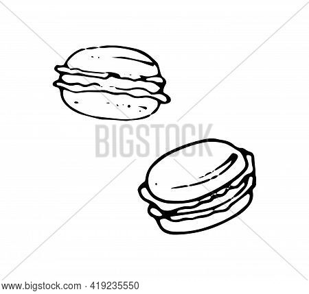 Macaroons Hand Drawn Doodle Icons. Set Of French Dessert Cake Vector Sketch, Isolated On White Backg