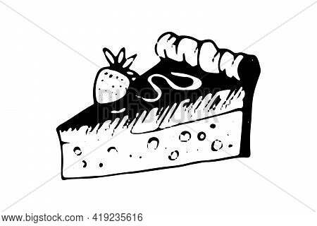 Piece Of Cheesecake Hand Drawn Doodle Icon. Vector Sketch Illustration Of Sweet Dessert Pie, Isolate