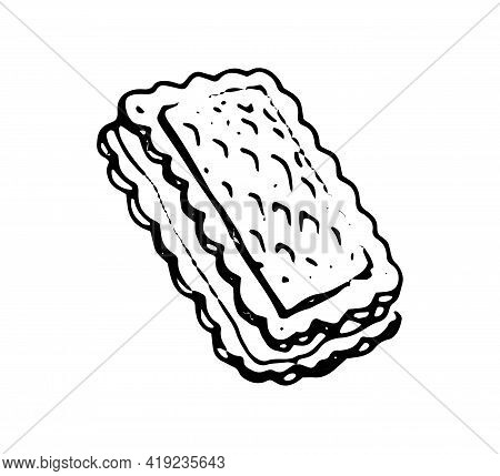Waffle Of Biscuit Hand Drawn Doodle Icon. Vector Sketch Of Wafer, Isolated On White Background
