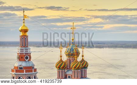 Panorama View Of Church Of The Mother Of God Cathedral Over The Volga River On Sunset In Spring In N