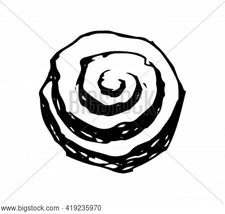 Cinnamon Roll Hand Drawn Doodle Icon. Vector Sketch Illustration Of Tasty Pastry, Isolated On White