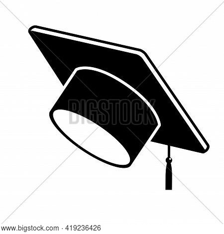Black Graduate Cap Glyph Icon Vector Object On White Background. Student Hat Element. Learning, Educ