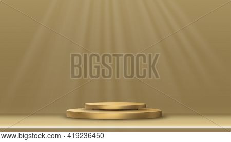 Minimal Podium Display With Yellow Gold Cylinder Stand On Golden Floor And Wall,vector Realistic 3d