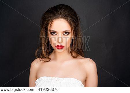 Portrait Of Young Sensual Woman. Beautiful Tender Girl.