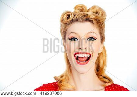 Happy Beautiful Girl, Pretty Woman Clean Fresh Skin. Expressive Facial Expressions. Portrait Of Beau