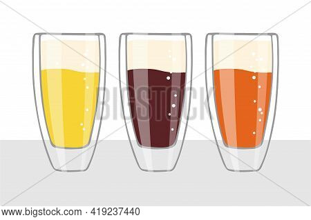 Three Beer Glasses Isolated On White Background. Craft Beer Glass In Different Versions. Vector Flat