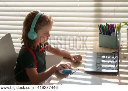 Homeschool Little Student Learning Virtual Internet Online Class From School Teacher By Remote Meeti