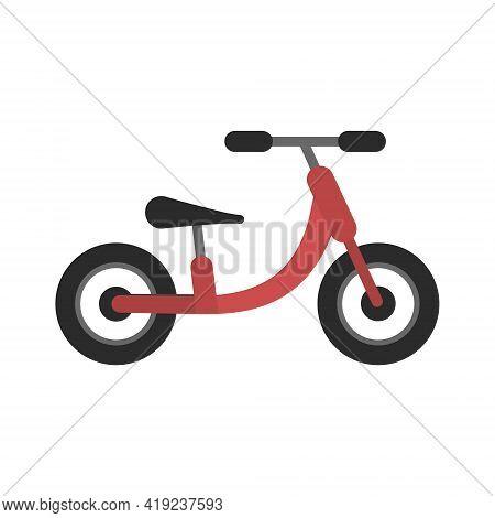 Cute Flat Red And Black Kids Balance Bike Icon. Illustration Of Children Run Bike Symbol For Adverti
