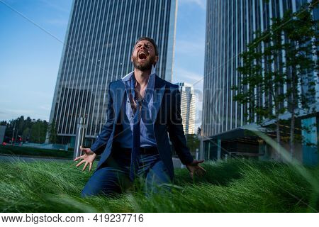 Frustrated Businessman Crying. Overworked Entrepreneur Tired Hard Work, Upset With Company Bankruptc