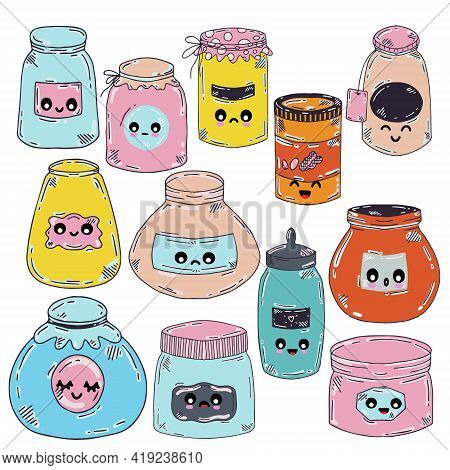 Set Of Vector Jars With Eyes For Jam From Pink And Blue Flowers In Doodle Style. Jars Of Different T