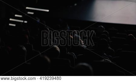 People Sitting In Dark Hall And Watch A Movie. Video. Rear View Of People At The Cinema Hall Watchin