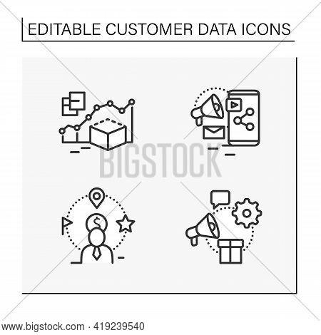 Customer Data Platform Line Icons Set. Predictive Modeling, Content Marketing, Client Attributes, Ma