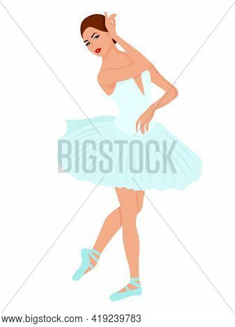 Elegant Ballerina In A Pale Blue Tutu Dress, Hand Drawing Vector, Isolated On The White Background