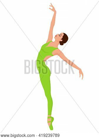Elegant Ballerina In Bright Green Unitard, Hand Drawing Vector, Isolated On The White Background