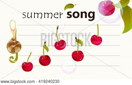 Song Of Summer - Musical Fruity Background. Color Illustration