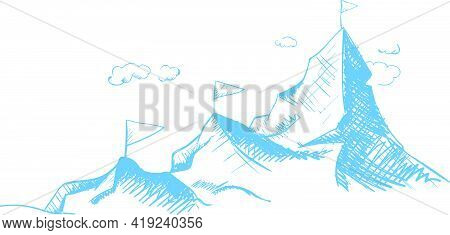 Reaching A Dream. Move Up And Forward. Mountains And Conquered Peaks. Outline Illustration
