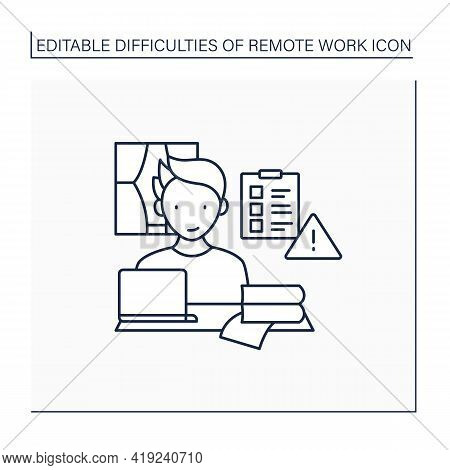 Remote Work Line Icon. Prioritizing Work. Important Tasks List. Focused. Career Difficulties Concept