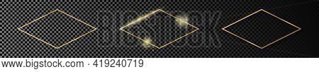 Set Of Three Gold Glowing Rhombus  Shape Frames Isolated On Dark Transparent Background. Shiny Frame