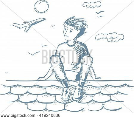 Reaching A Dream. Dreaming Boy On The Roof. Outline Illustration