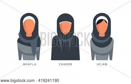 Muslim Female Headgears Set, Shayla, Chador, Hijab Headdress Flat Vector Illustration