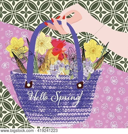 Spring Celebration Illustration Of Hand Holding A Basket Containing A Hen And Spring Flowers. Vector