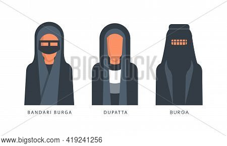 Muslim Female Headgears Set, Bandari Burga, Duratta, Burga Headdress Flat Vector Illustration