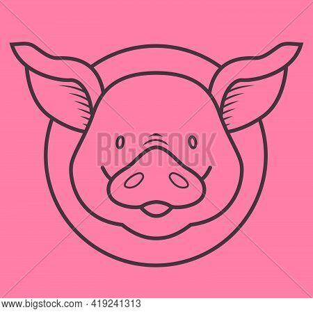Funny Piggy - Outline Humor Color Illustration