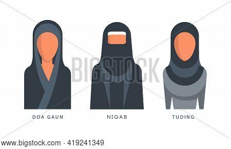 Muslim Female Headgears Set, Doa Gaun, Niqab, Tuding Headdress Flat Vector Illustration