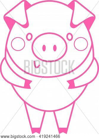 Funny Piggy - Vector Humor Color Illustration