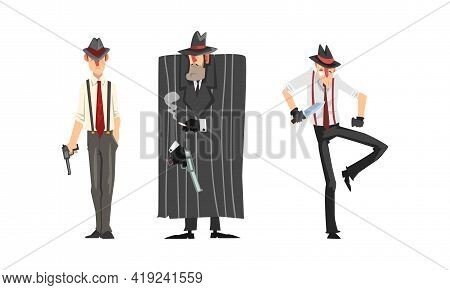 Male Gangsters In Retro Suits With Weapon Set, Mafia Mob Characters Cartoon Vector Illustration