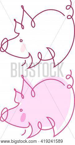 Funny Piggy - Vector Humor Color Illustrations Set