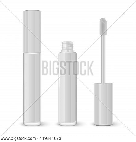 Vector 3d Realistic Closed, Opened White Lip Gloss, Lipstick Package Set Isolated On White Backgroun