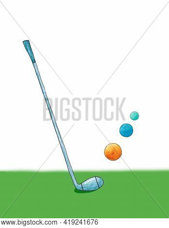 Golf Tournament Poster Template. Golf Clubs And Golf Balls. Leisure Golf Game. Activity. Sports. Ite