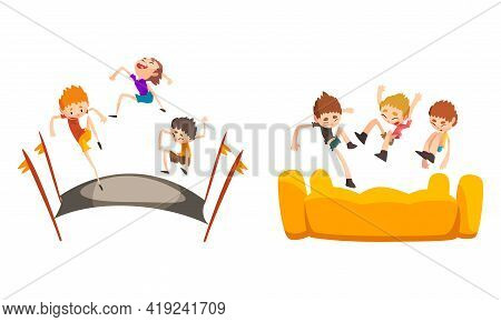 Happy Kids Playing Trampoline Set, Cute Boys Bouncing And Having Fun, Active Children Game Cartoon V