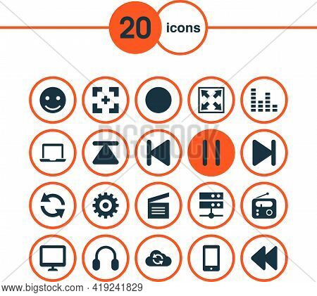 Media Icons Set With Top, Widen, Sync And Other Stop Elements. Isolated Vector Illustration Media Ic