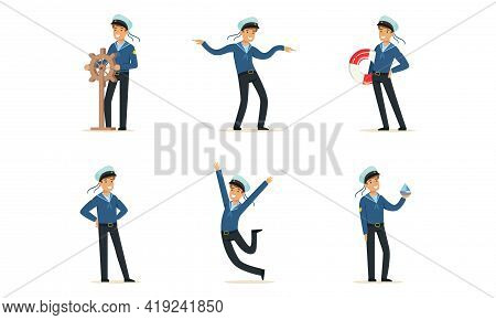 Sailor Or Seaman In Striped Vest Working Aboard Watercraft Vector Set