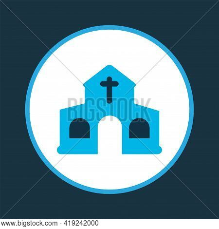 Church Icon Colored Symbol. Premium Quality Isolated Chapel Element In Trendy Style.