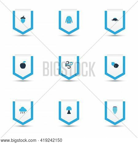 Season Icons Colored Set With Oak Nut, Apple, Wind And Other Jacket Elements. Isolated Vector Illust